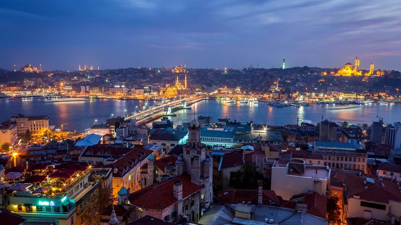 壁纸 土耳其,伊斯坦布尔,城市夜景,房子,灯光 1920x1200 HD 高清壁纸, 图片, 照片