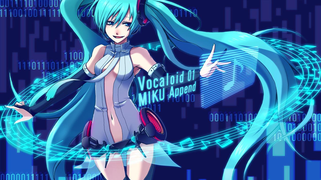 Wallpaper Hatsune Miku Music Blue Hair Anime Girl Miku