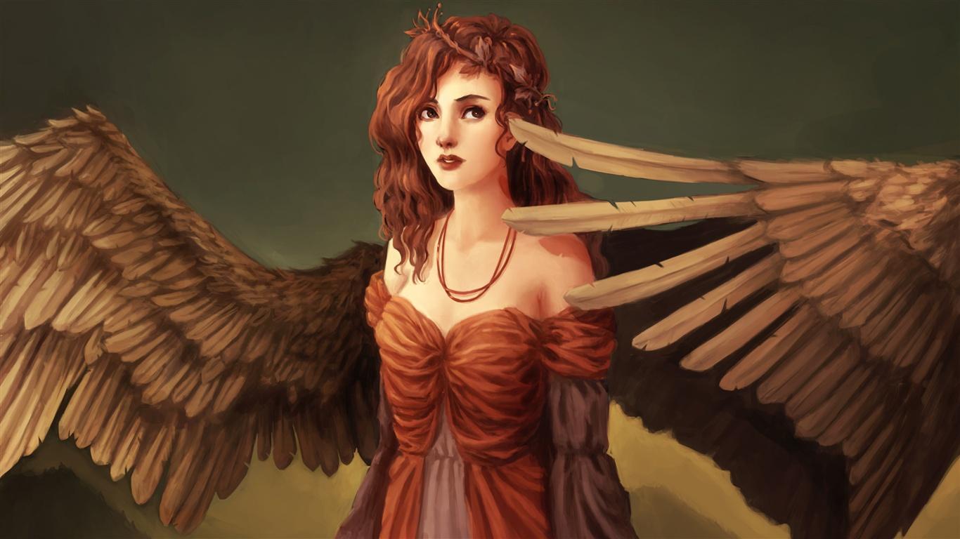L Art D Imagination Fille Ailes Ange Cheveux Rouges
