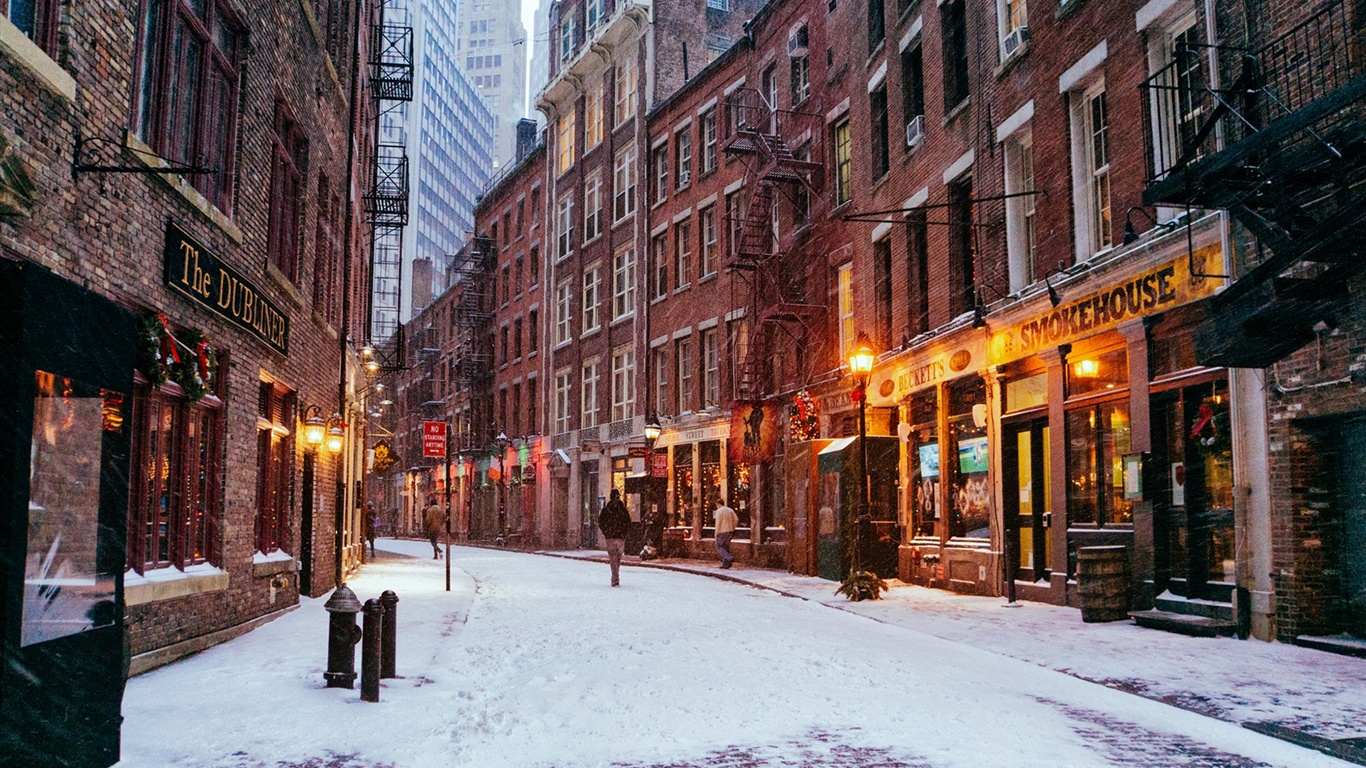 group of nyc winter wallpaper 1366 x 768
