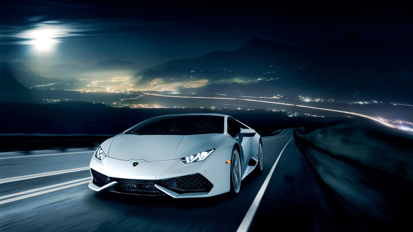 lamborghini huracan lp610 4 white supercar road night. Black Bedroom Furniture Sets. Home Design Ideas