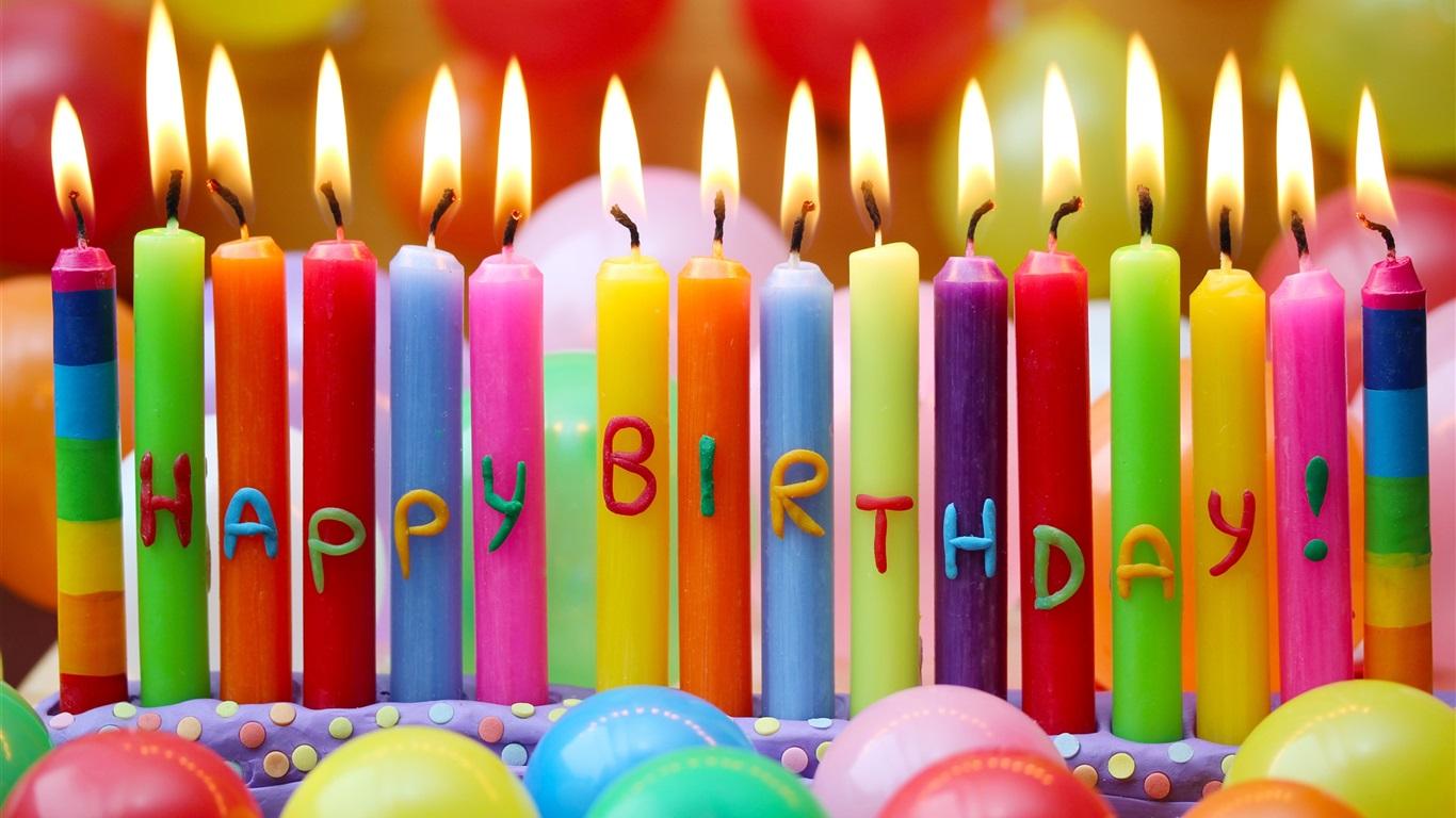 joyeux anniversaire bougies color es ballons fonds d 39 cran 1366x768 fonds d 39 cran de. Black Bedroom Furniture Sets. Home Design Ideas