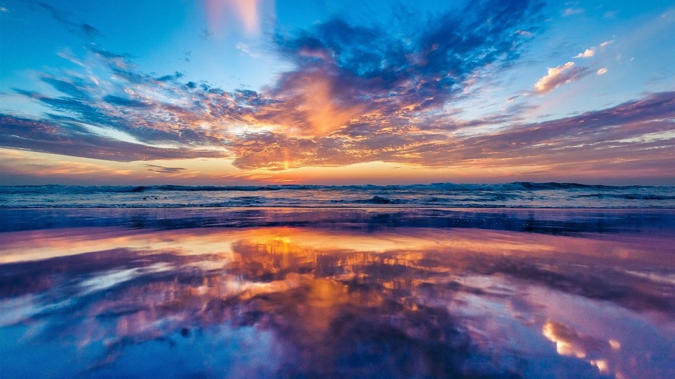海洋,海岸,黎明,沙滩,云海,日出 壁纸图片