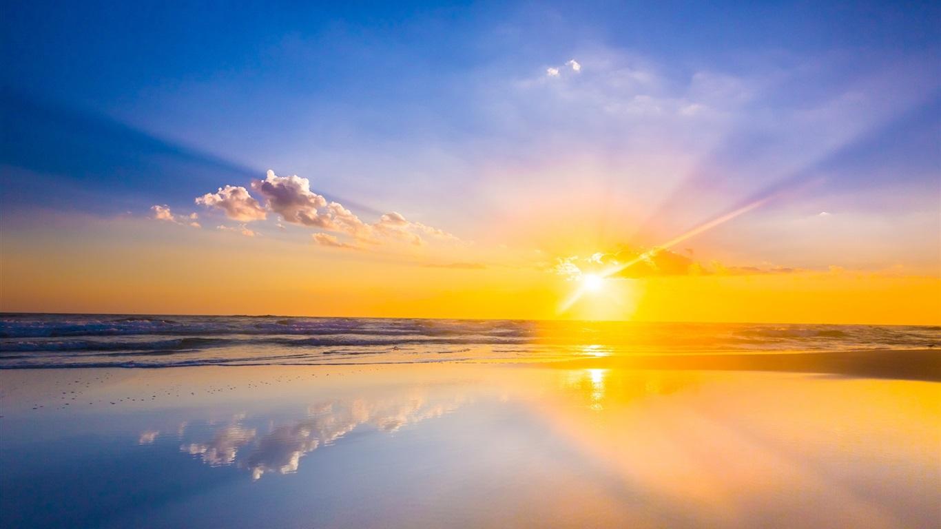 日の出、海、ビ�...