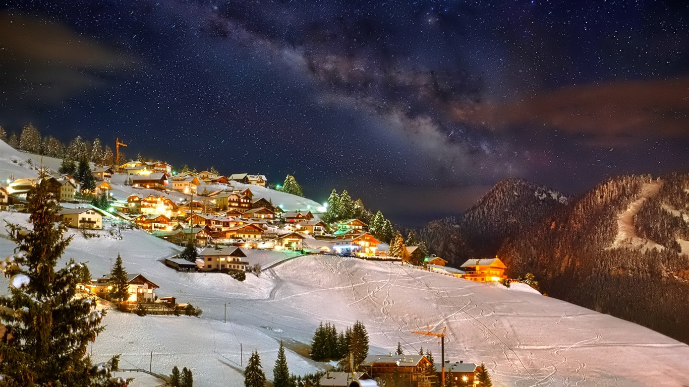 1366x768 mountain night stars - photo #30