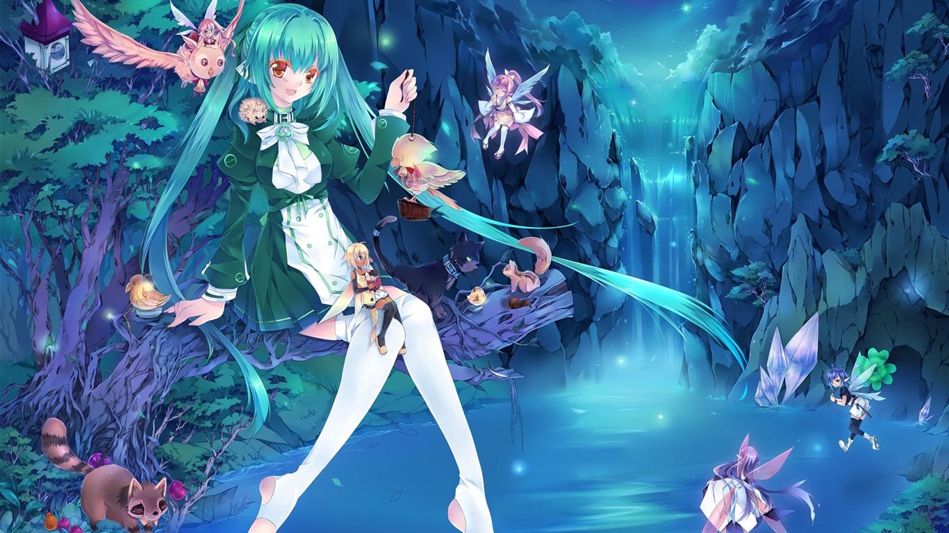 Download Wallpaper 1366x768 Blue hair anime girl, fairies ...
