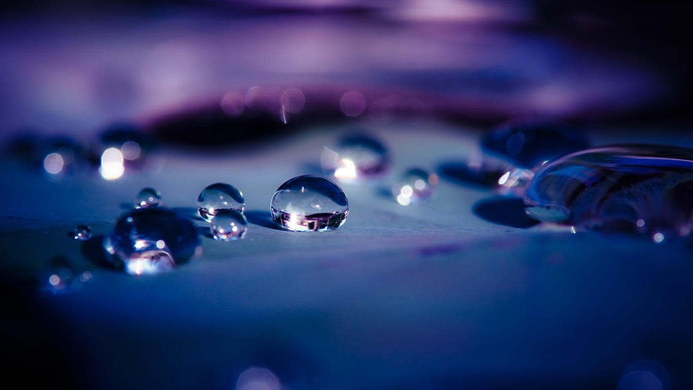 Download Wallpaper 1366x768 Water Drops After Rain Hd