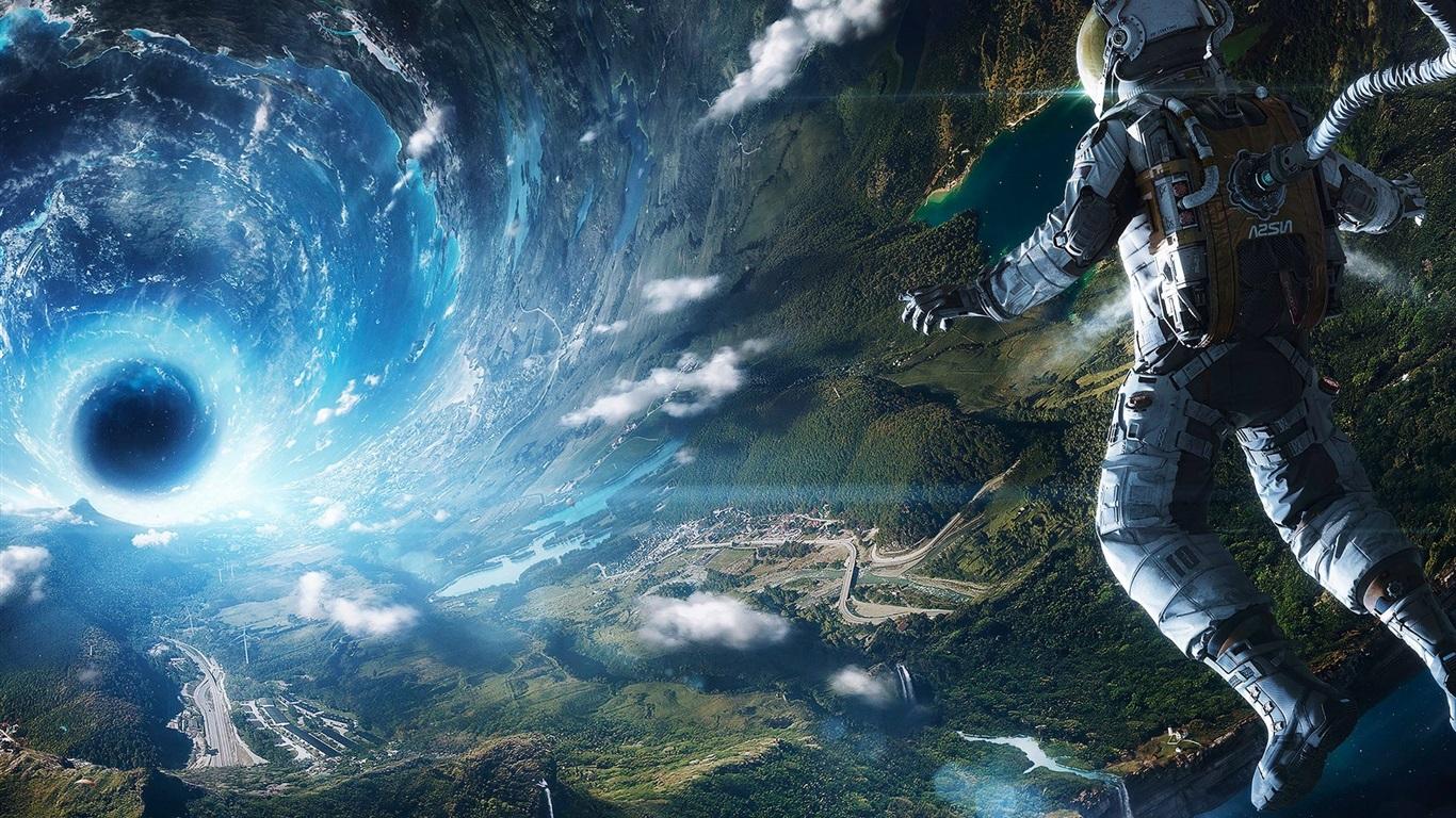 regard de l'astronaute à la terre, l'espace, trou noir ...