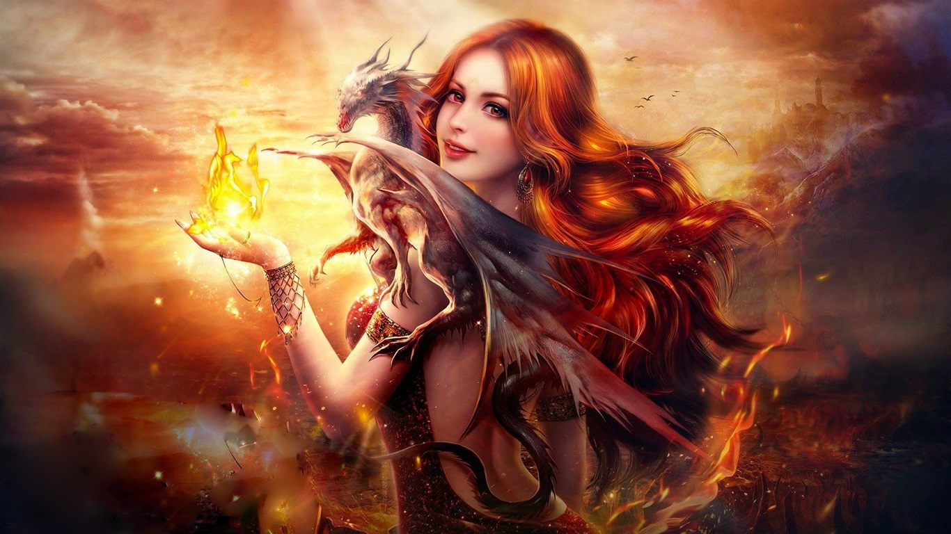 美丽的幻想的女孩,红头发,微笑,龙,火 壁纸 - 1366x768图片