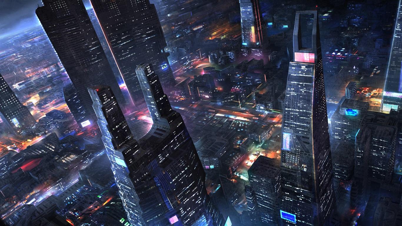 Future city, skyscrapers, night, lights, art design ...