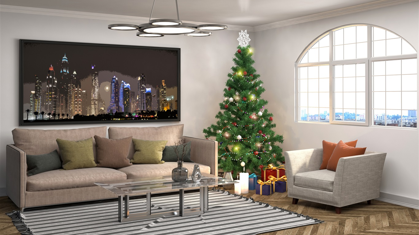 Wallpaper Interior design, Christmas tree, pillow, sofa ...