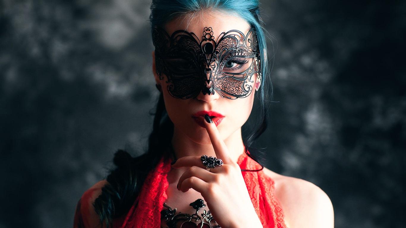 时尚女孩,化妆,面具 桌布 - 1366x768图片