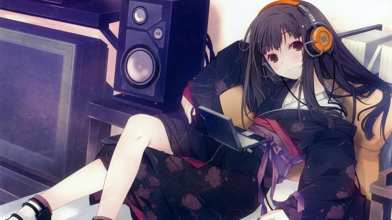 壁紙 かわいいアニメの女の子が音楽を聴いて ノートパソコン
