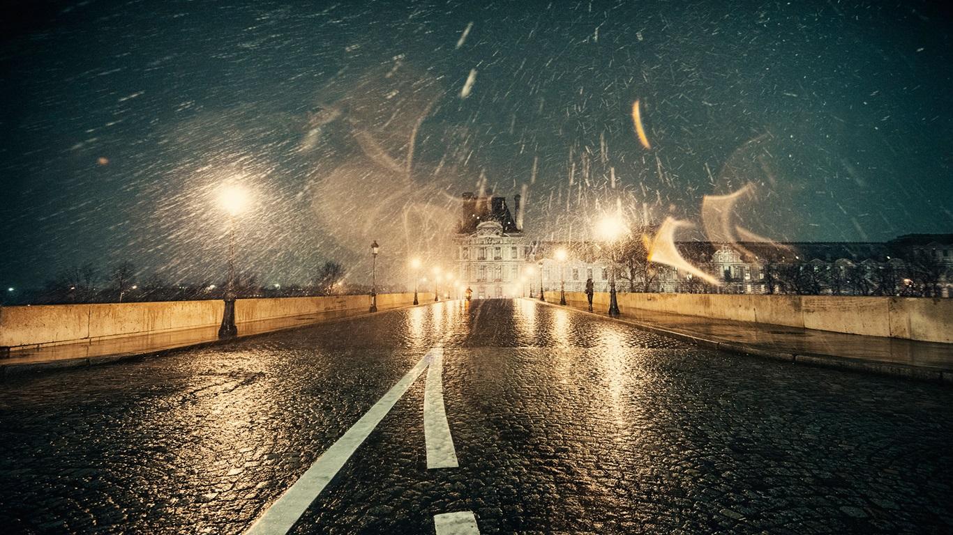 Wallpaper France, Paris, Winter, Snow, Night, Road, Lights