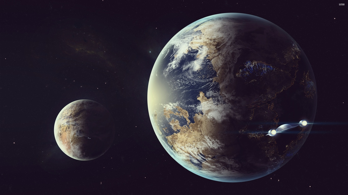 Earth moon spaceship space wallpaper 1366x768 for Space wallpaper 1366x768