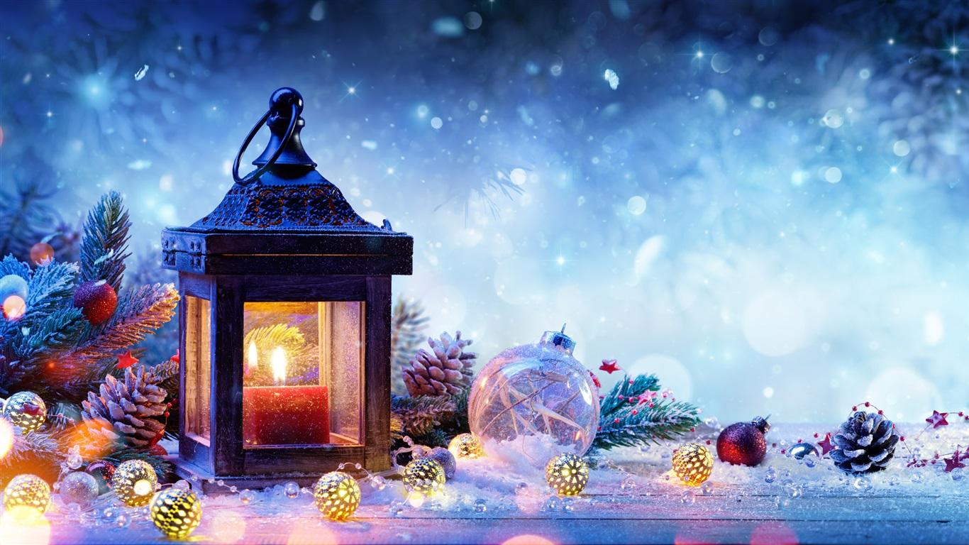 Wallpaper Christmas Decorations Spruce Snow Lamp Balls New