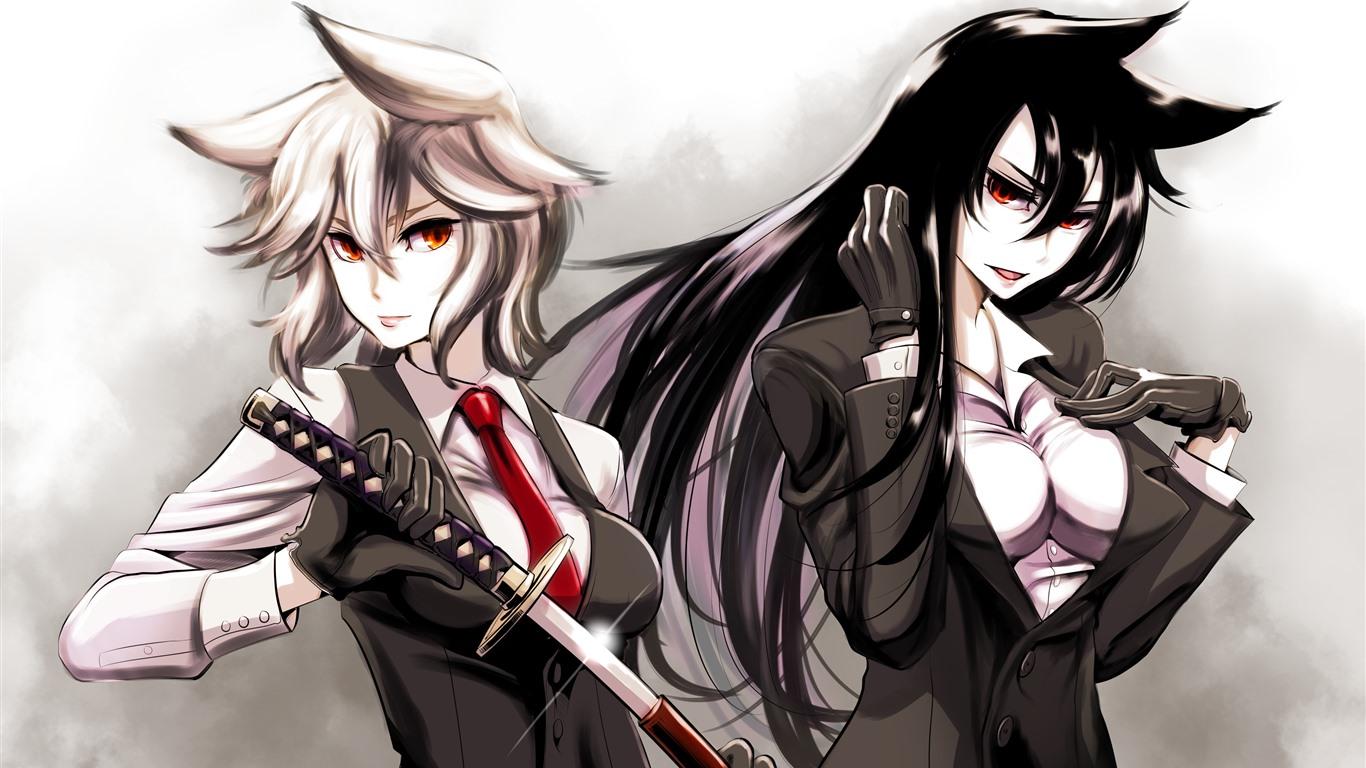 壁紙 二人のアニメの女の子 剣 x1800 Hd 無料のデスクトップの背景 画像