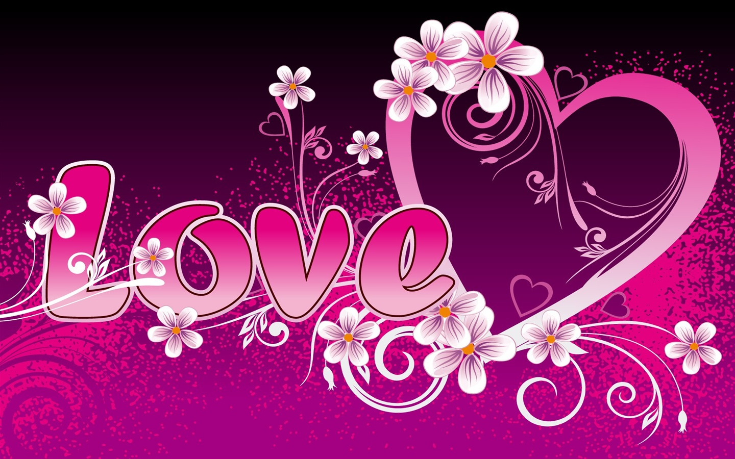 Love and love the flowers around the heart shaped Wallpaper | 1440x900 ...