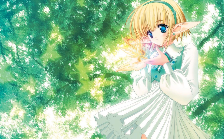 Anime elf m dchen unter b umen 1600x1200 hd - Cute anime girl wallpaper download ...