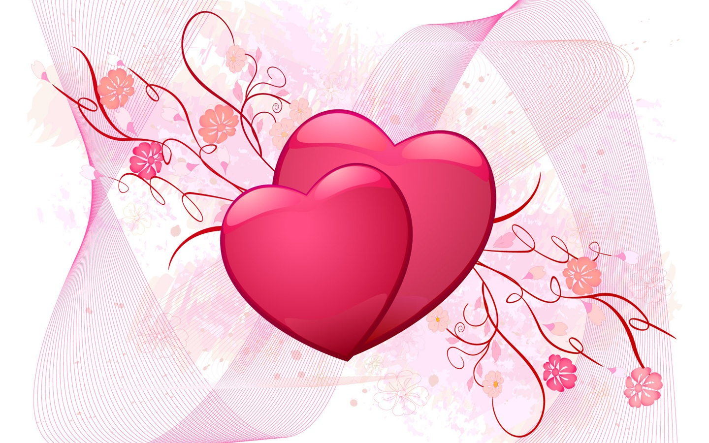 Pink love heart wallpaper - 1440x900
