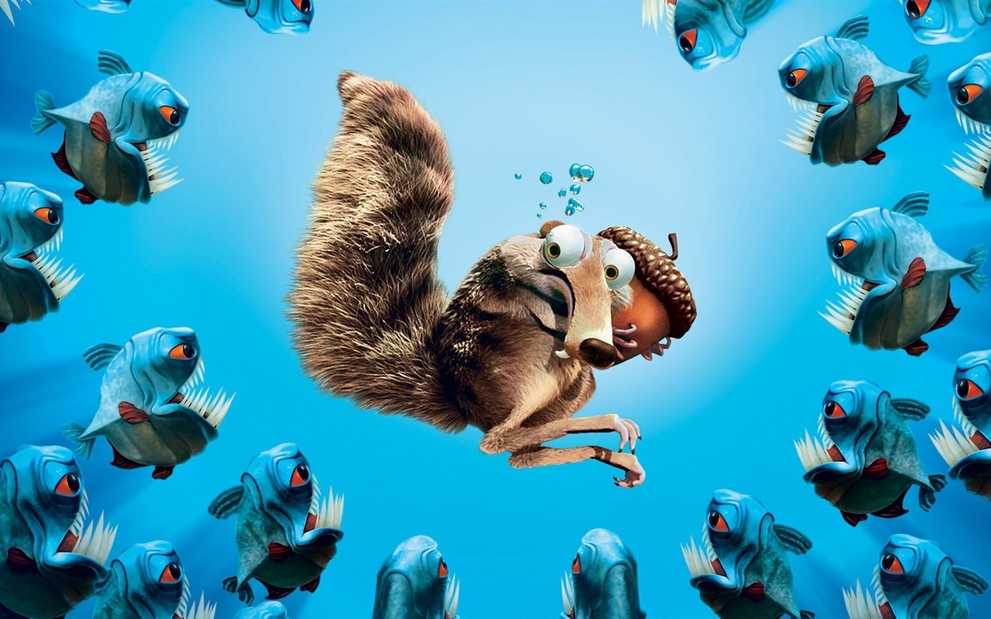 Ice Age squirrel acorn piranhas wallpaper - 1440x900