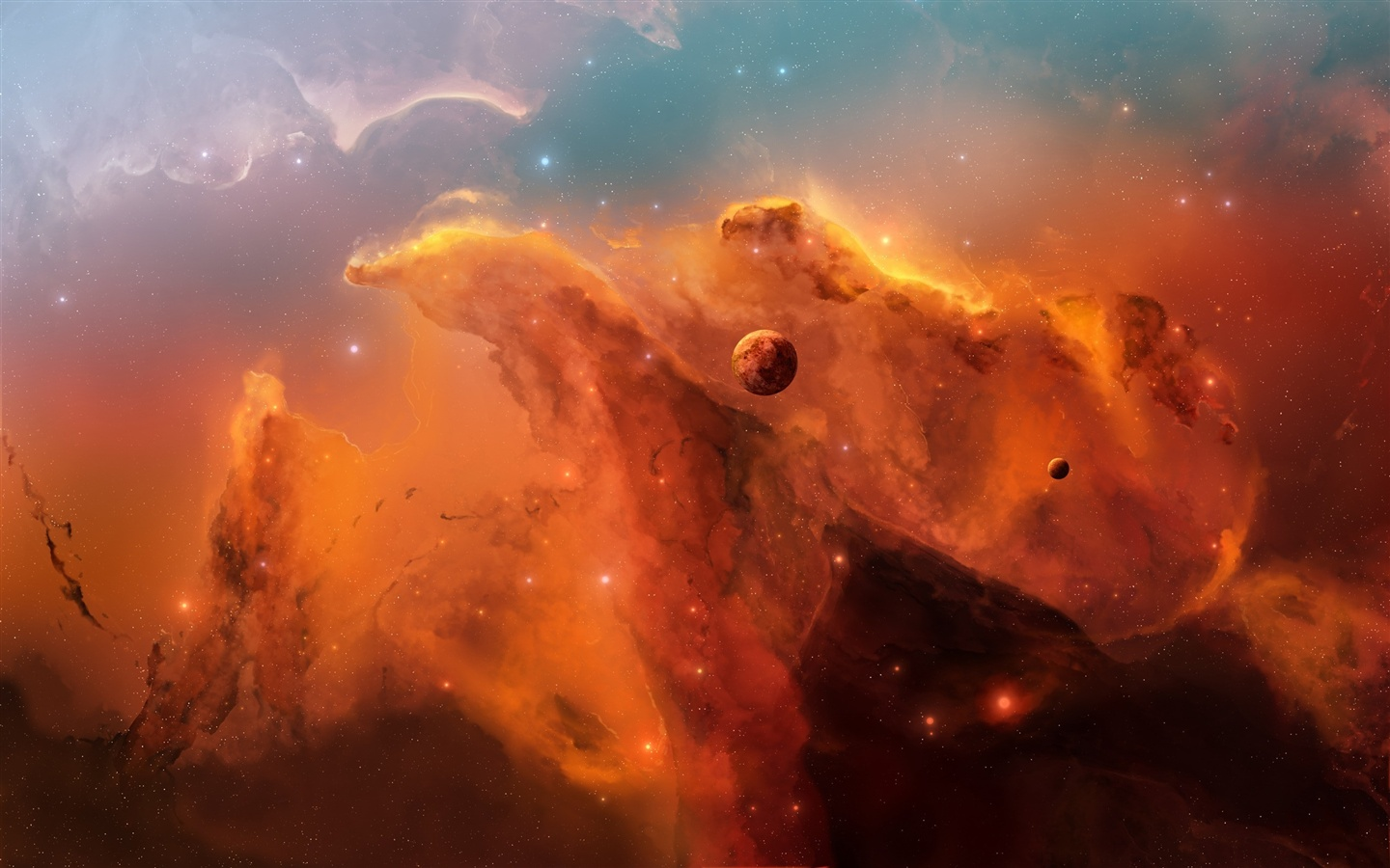 The red nebula in space wallpaper - 1440x900