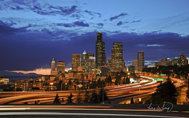 シアトル市内の夜景 壁紙 1440x900 壁紙ダウンロード 壁紙 Pc