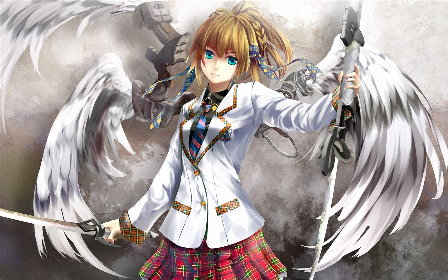 Wallpaper anime angel girl with a sword as a weapon - Angel girl wallpaper ...
