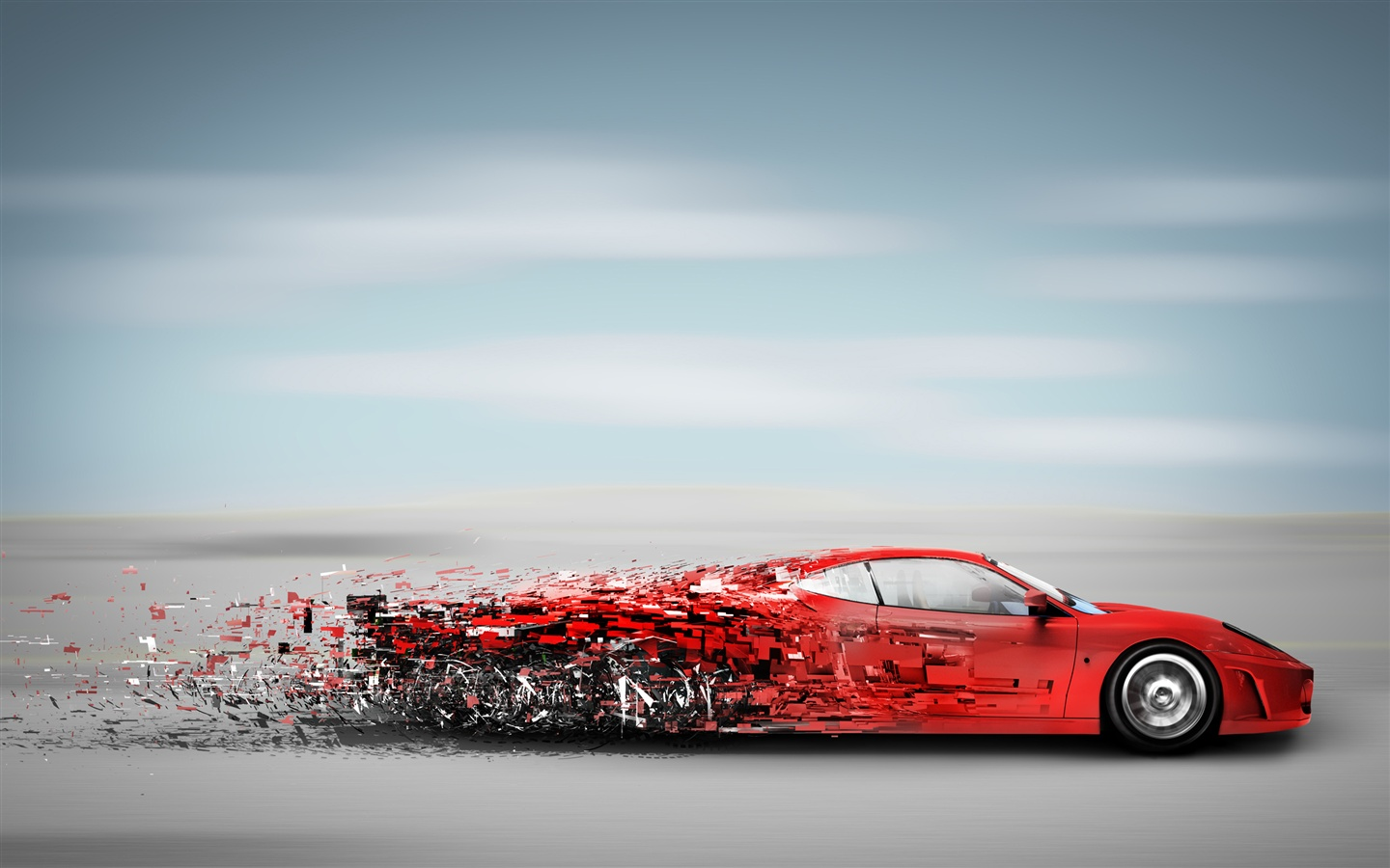 Wallpaper Red Sports Car In High Speed Running Debris