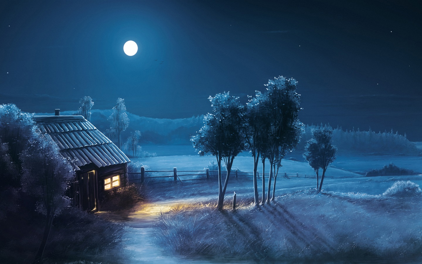 艺术设计,夜晚,月亮,房子,田野,树木 壁纸 ...: cn.best-wallpaper.net/art-design-night-moon-house-fields-trees...