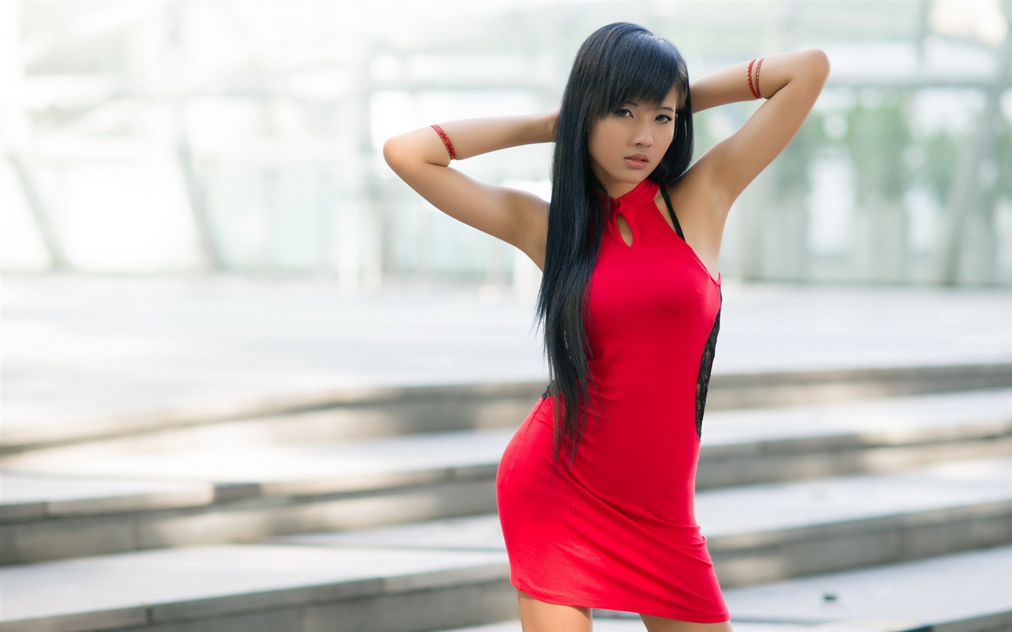 Long hair asian sensual curvy