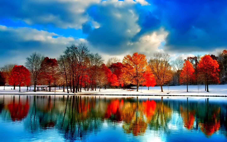 壁纸 云,河,雪,树木,秋天 1920x1200 HD 高清壁纸, 图片, 照片