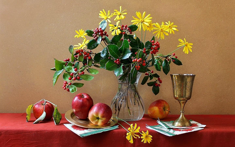 fonds d u0026 39  u00e9cran nature morte  fleurs  vase  tasse  pomme