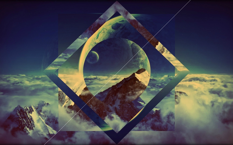 行星,云,山,创意图片 壁纸图片