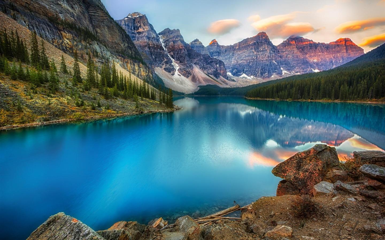 Fonds d'écran Canada, lac, montagne, forêt, beau paysage naturel 1920x1200 HD image
