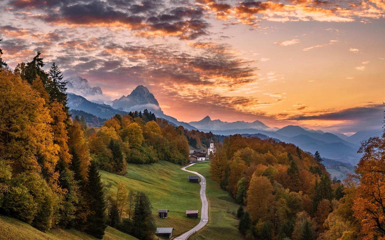 Обои Облака, бавария, германия, горы, природа, свет. Природа foto 19