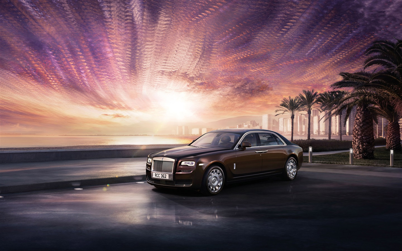 16 Luxury Pubg Wallpaper Iphone 6: 壁纸 劳斯莱斯幽灵豪华轿车,棕色,城市,日落 2560x1600 HD 高清壁纸, 图片, 照片