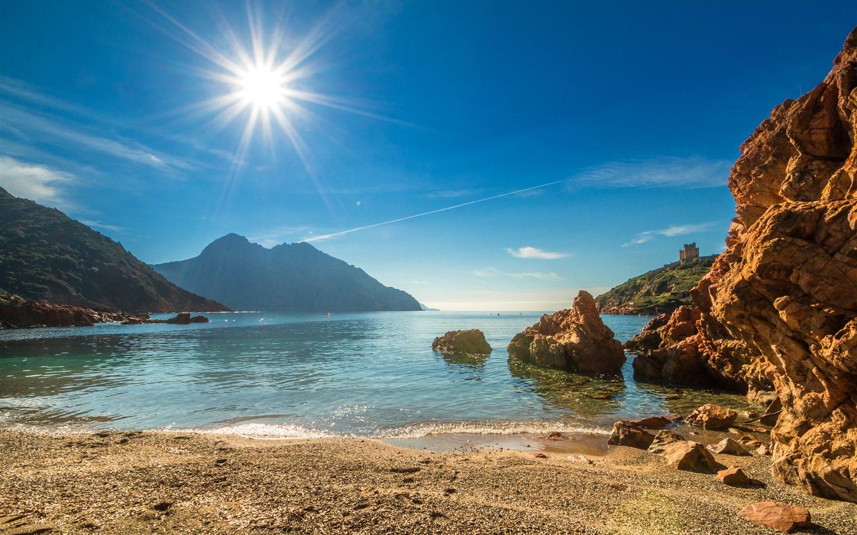 Fonds d'écran France Corse côte plage mer montagne soleil 2880x1800 HD image