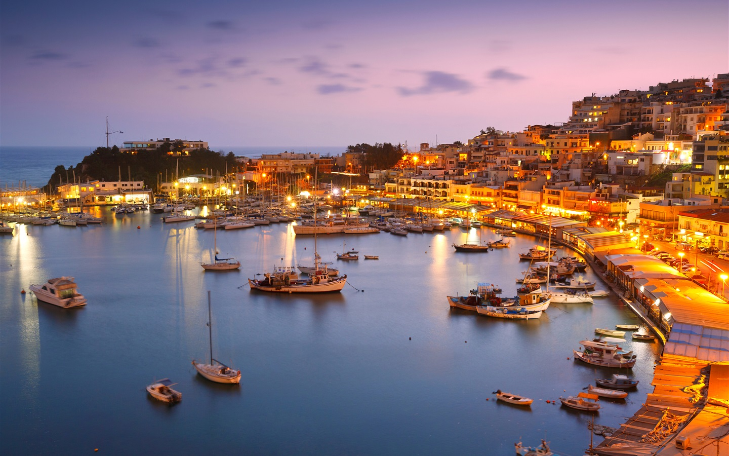 Best Wallpaper Night Greece - Greece-Athens-coast-sea-yachts-pier-houses-night-lights_1440x900  Gallery-27307.jpg