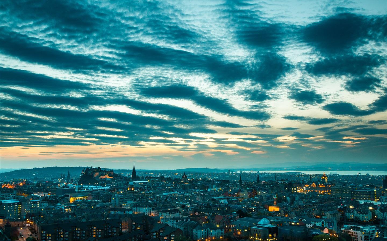 Обои Облака, эдинбург, Шотландия, свет, дома. Города foto 13