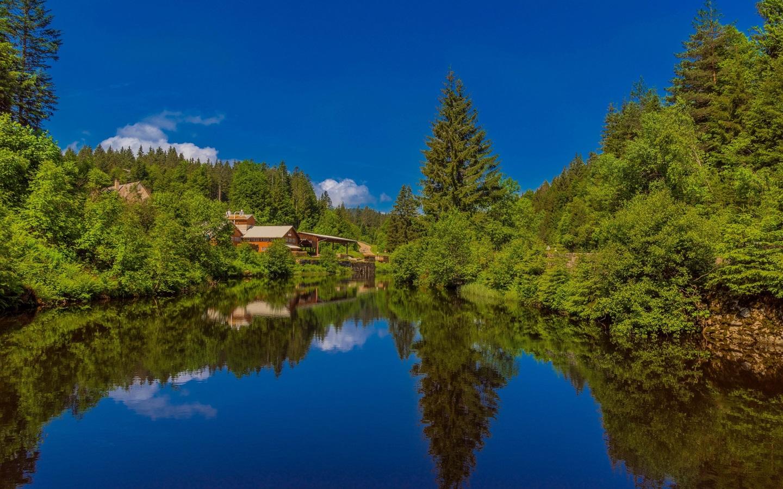 壁紙 黒い森、湖、住宅、ドイツ、バーデン=ヴュルテンベルク州 1920x1200 HD 無料のデスクトップの背景, 画像