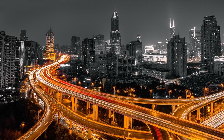 Обои небоскребы, китай, дома, улицы, шанхай, дороги. Города foto 9