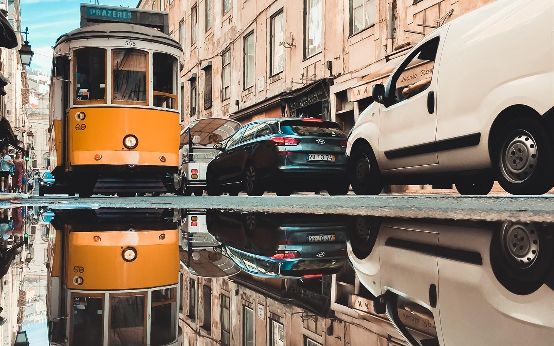 Обои lisbon, трамвай, ночь. Города foto 15