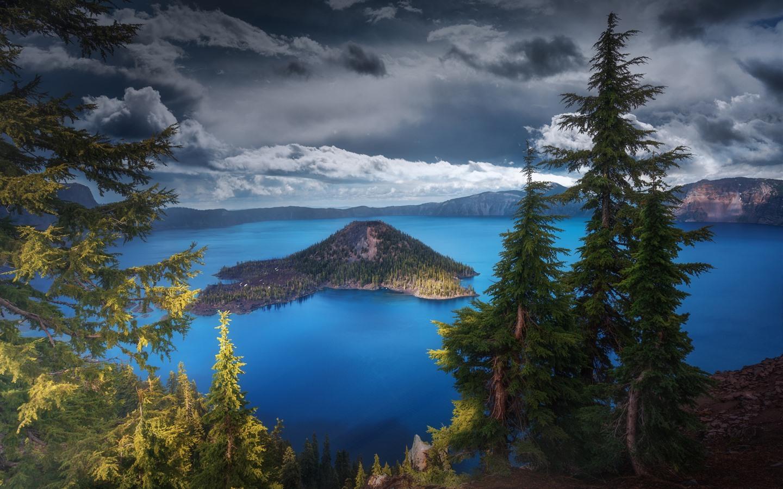 Wallpaper Usa Oregon Crater Lake Trees Nature Landscape