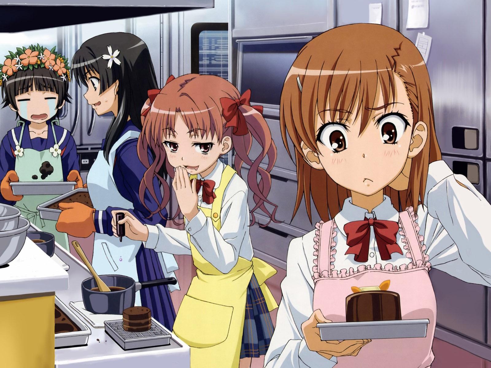 las chicas de anime en la cocina fondos de pantalla
