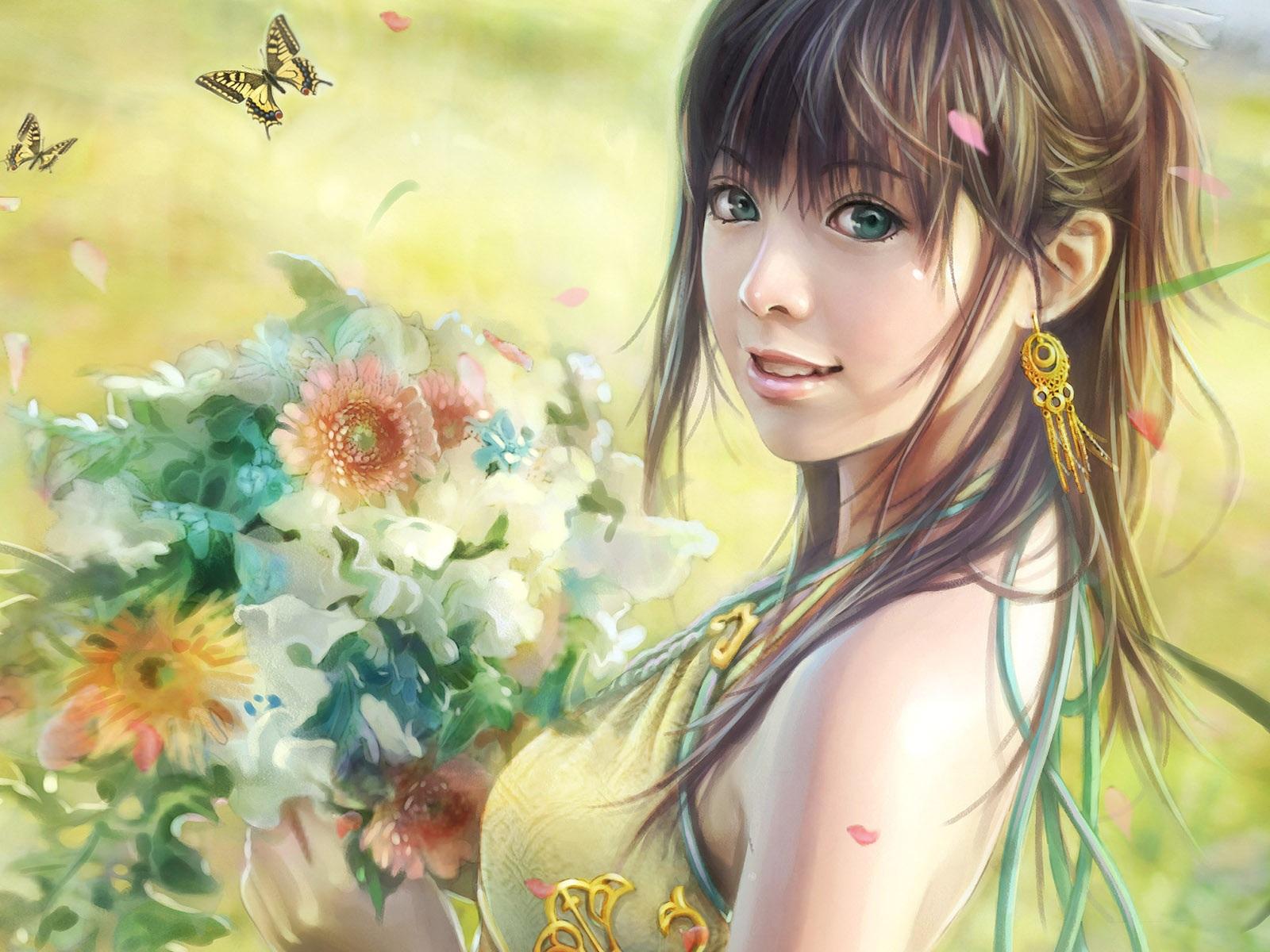 Обои девочка с цветами в руках обои