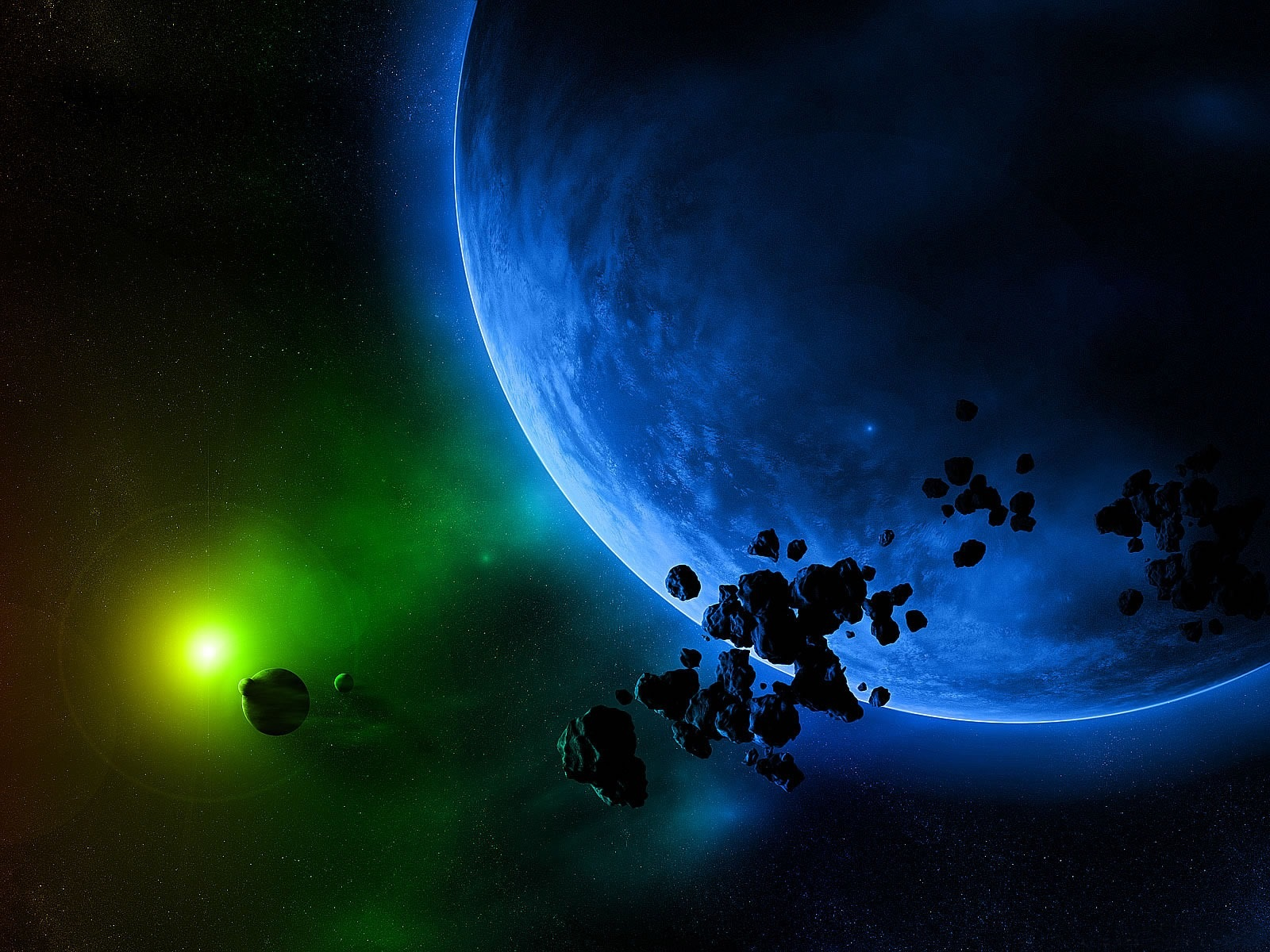 wallpaper green light and blue planet 1600x1200 hd picture, image