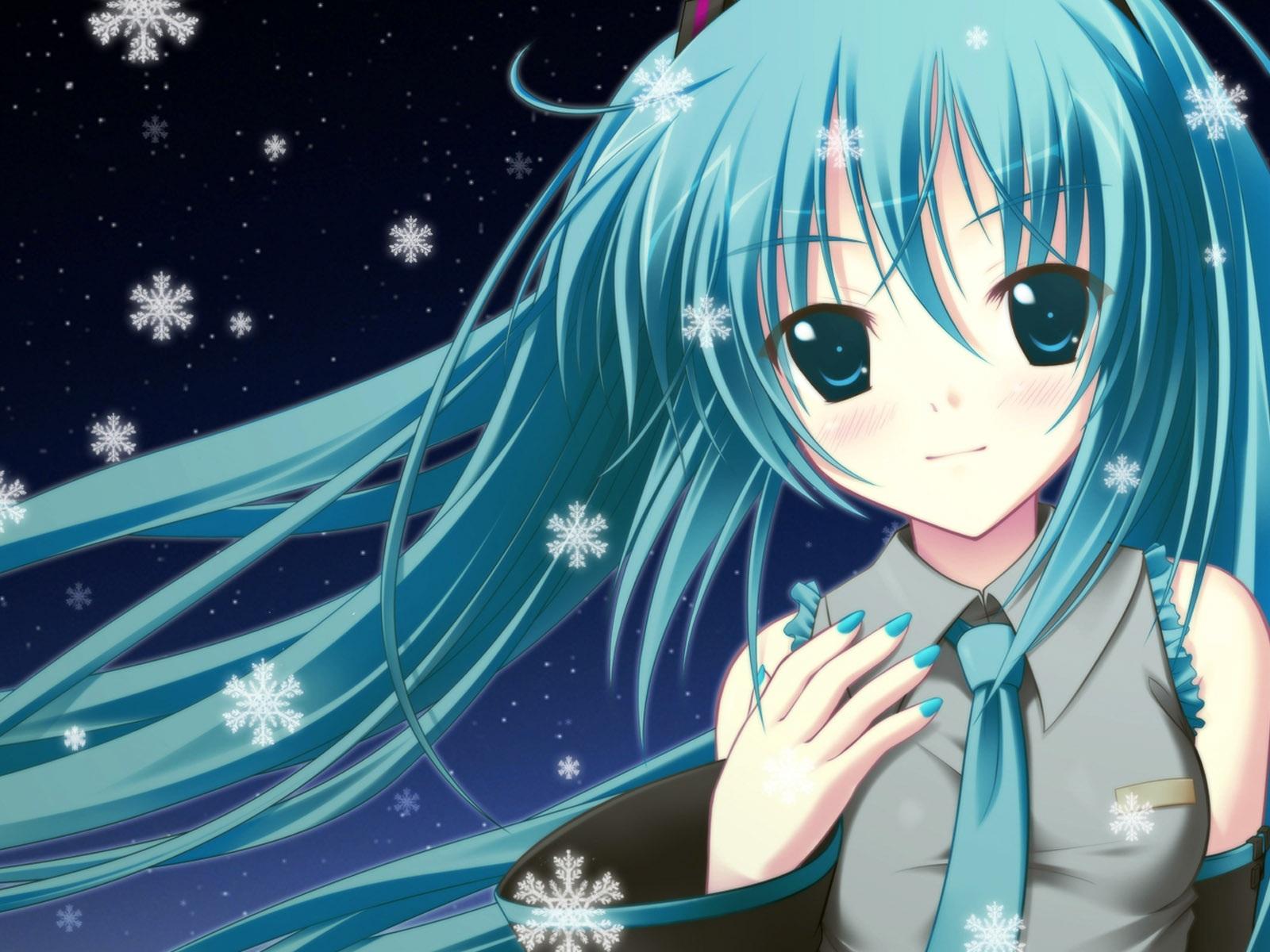 Blue hair anime girl wallpaper 1600x1200 resolution - Anime 1600x1200 ...