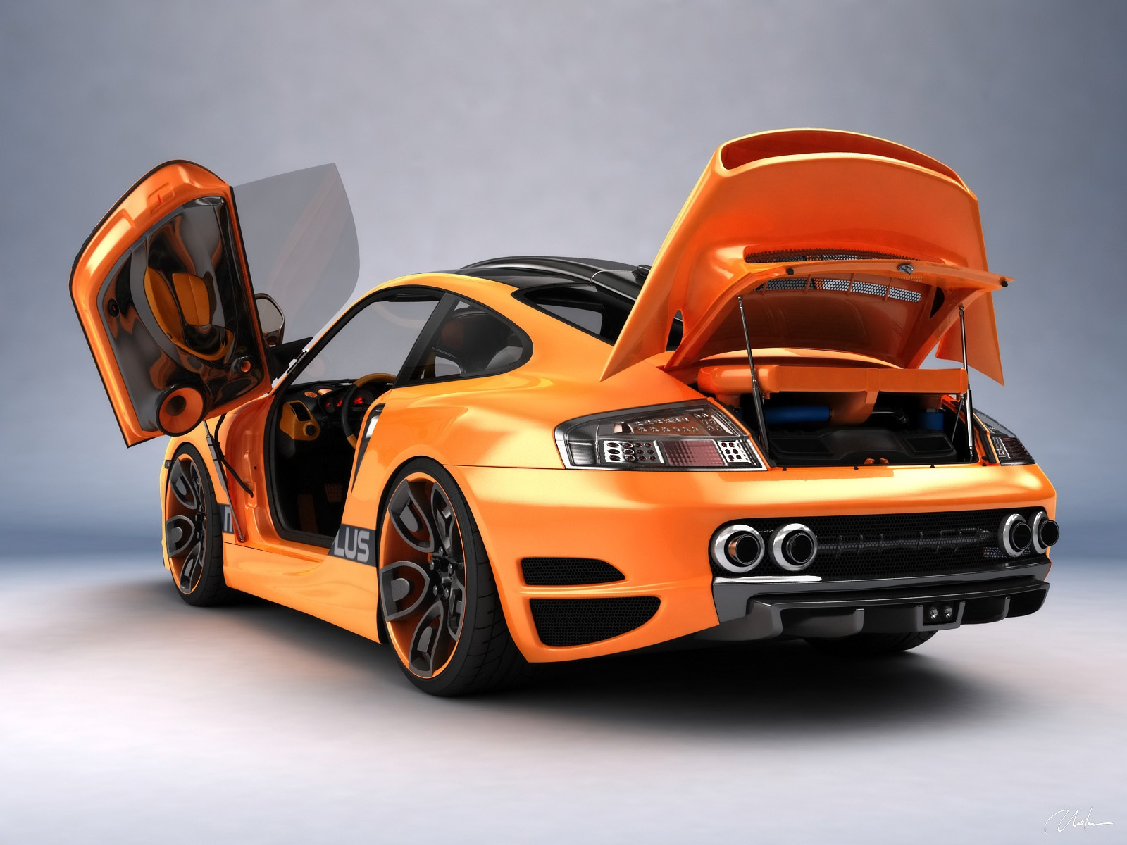 Wallpaper Orange Sports Car Close Up 1600x1200 Hd Picture Image