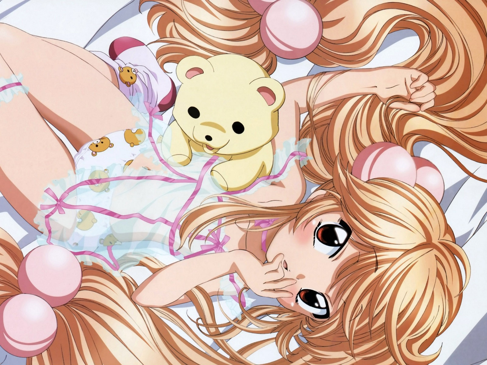 Bed of golden hair anime girl wallpaper 1600x1200